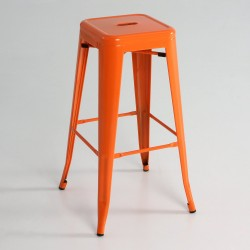 Taburete alto metal color naranja