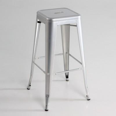 Taburete alto  metal  color plata