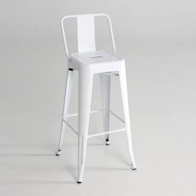 Taburete alto  metal  con respaldo  color blanco