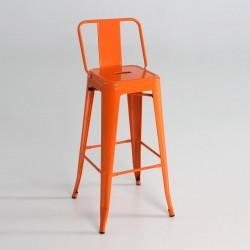 Taburete alto metal con respaldo color naranja