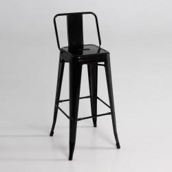 Taburete alto  metal  con respaldo  color negro