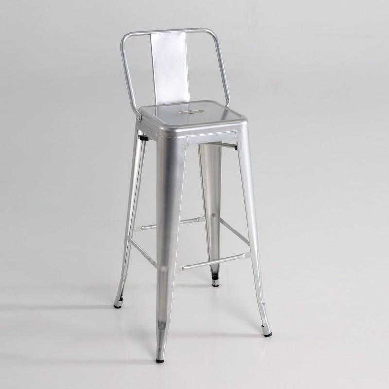 Taburete alto  metal  con respaldo  color plata