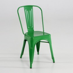 Silla de metal color verde