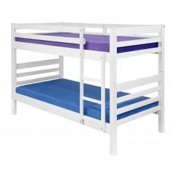 Litera lacada blanco mate con dos camas de 90 x 190 cm.