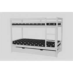 Litera lacada blanco mate con dos camas de 90 x190 y cajon grande