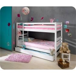 Litera lacada blanco mate con dos camas de 90 x 190 y cajon grande con somieres incluidos