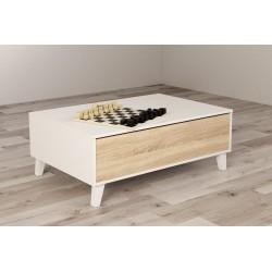 Mesa de centro elevable 100x68 blanco brillo/roble natural