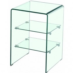Mesita auxiliar de vidrio transparente doblado