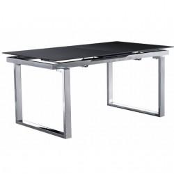 Mesa comedor de cristal templado gris extensible. Cerrada 160x90 cm abierta 200x90 cm