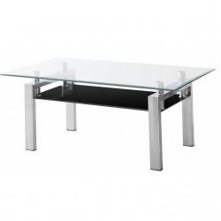 Mesa de centro acero y cristal transparente y negro pequeña.