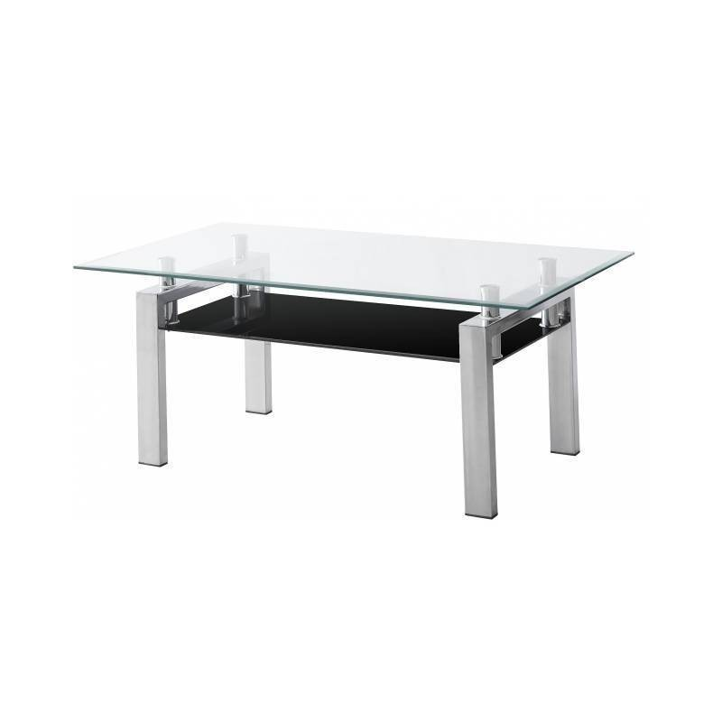 Mesa centro acero y cristal transparente y negro pequeña.