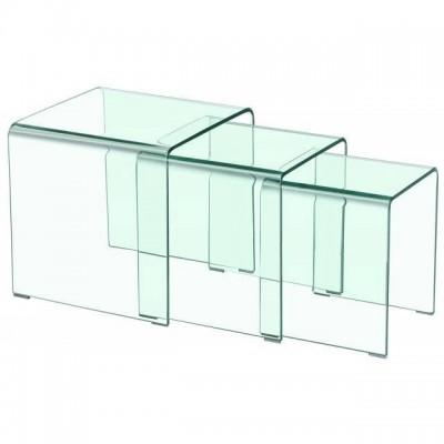 Mesas nido en cristal doblado transparente