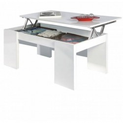 Mesa de centro elevable,en blanco brillo