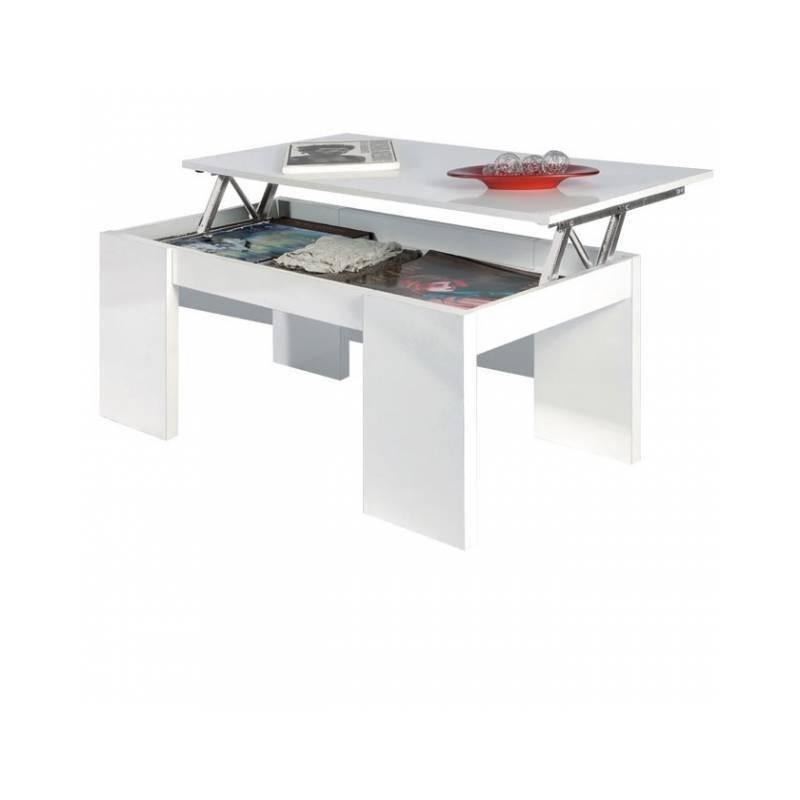 Mesa de centro elevable,en blanco brillo