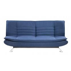 Sofá cama tipo clic-clac tapizado en tela color azul