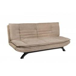 Sofá cama tipo clic-clac tapizado en tela color visón
