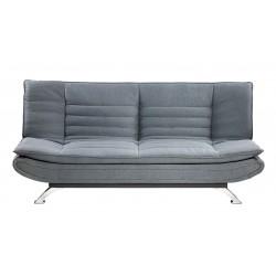 Sofá cama tipo clic-clac tapizado en tela color gris