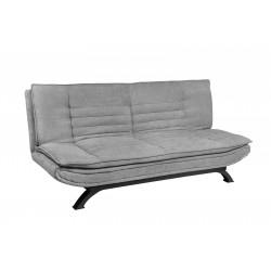 Sofá cama tipo clic-clac tapizado en tela color gris claro