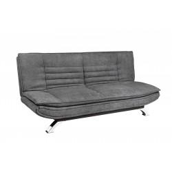 Sofá cama tipo clic-clac tapizado en tela color gris oscuro
