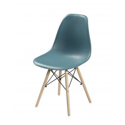 Silla de diseño nórdico de policarbonato azul plomo
