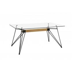 Mesa rectangular de cristal transparente con patas en color negro de 160X75X90