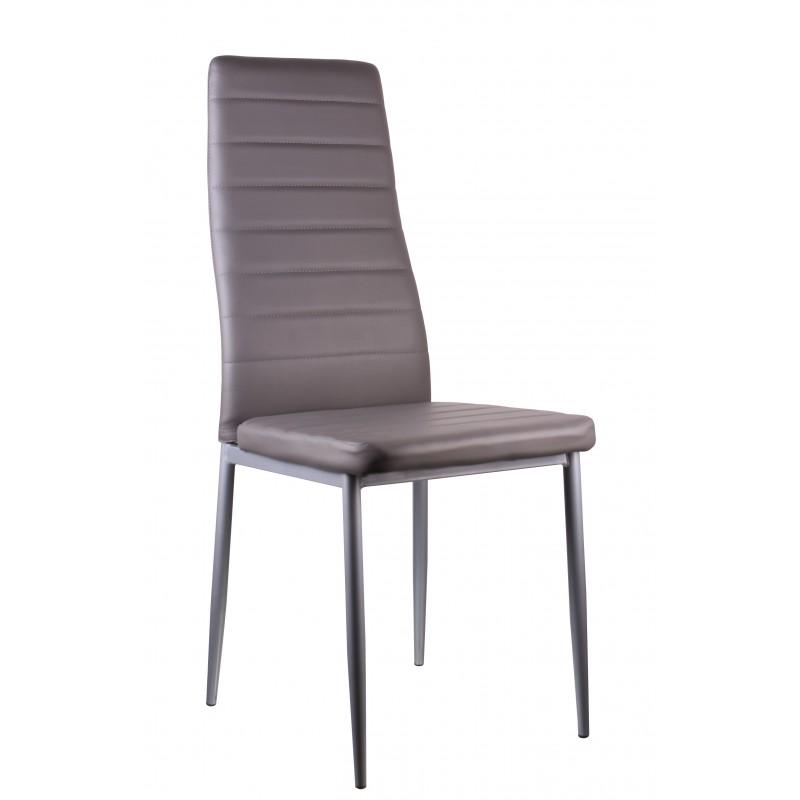 Silla  comedor tapizada en polipiel color gris
