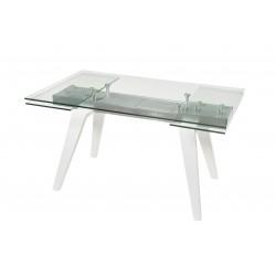 Mesa comedor rectangular extensible en cristal y blanco de 140X90