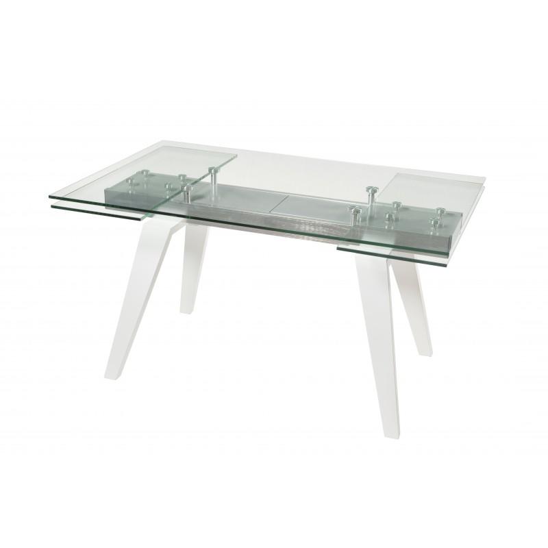 Mesa comedor rectangular extensible en cristal y blanco