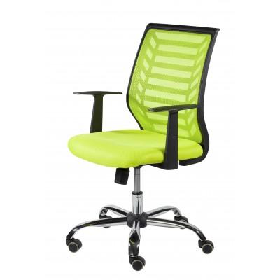 Silla oficina giratoria a gas con brazos, acabado cromo-negro y tapizada en tela color verde lima