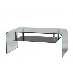 Mesa de centro rectangular de cristal templado doblado con revistero