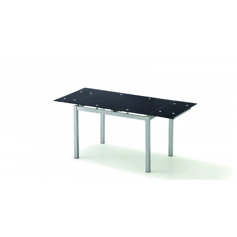 Mesa rectangular extensible cristal negro de 110X75X70