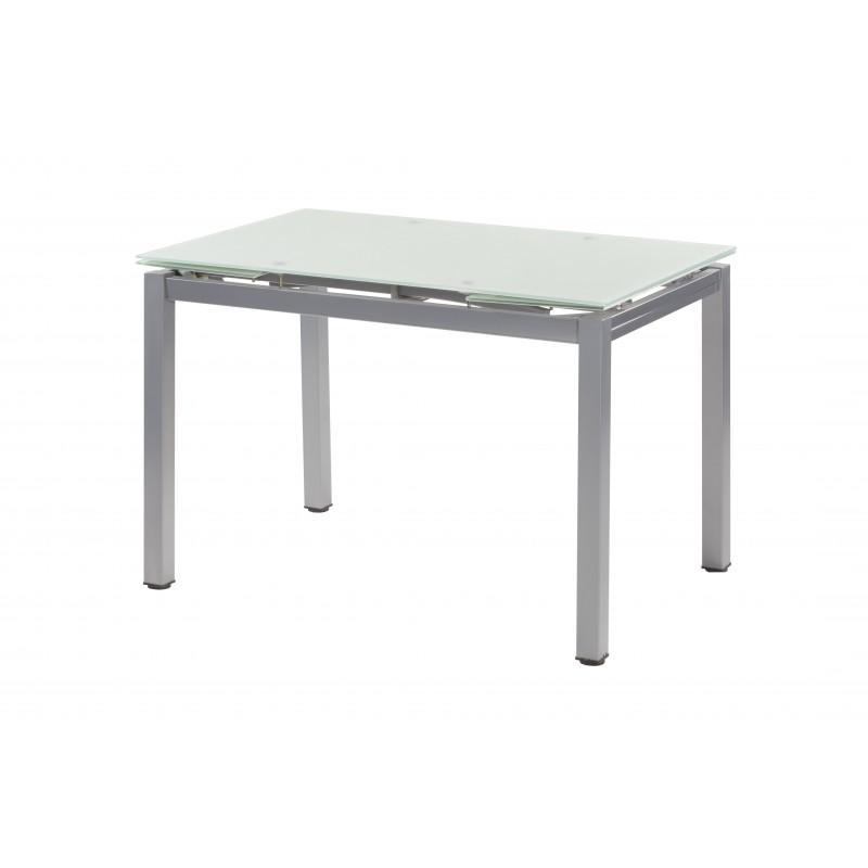 Mesa rectangular extensible en cristal blanco