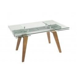 Mesa de comedor rectangular extensible en cristal y madera