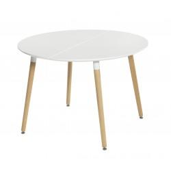 Mesa redonda extensible en blanco y roble de 110 cm