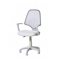 Silla de estudio giratoria a gas con brazos color blanco