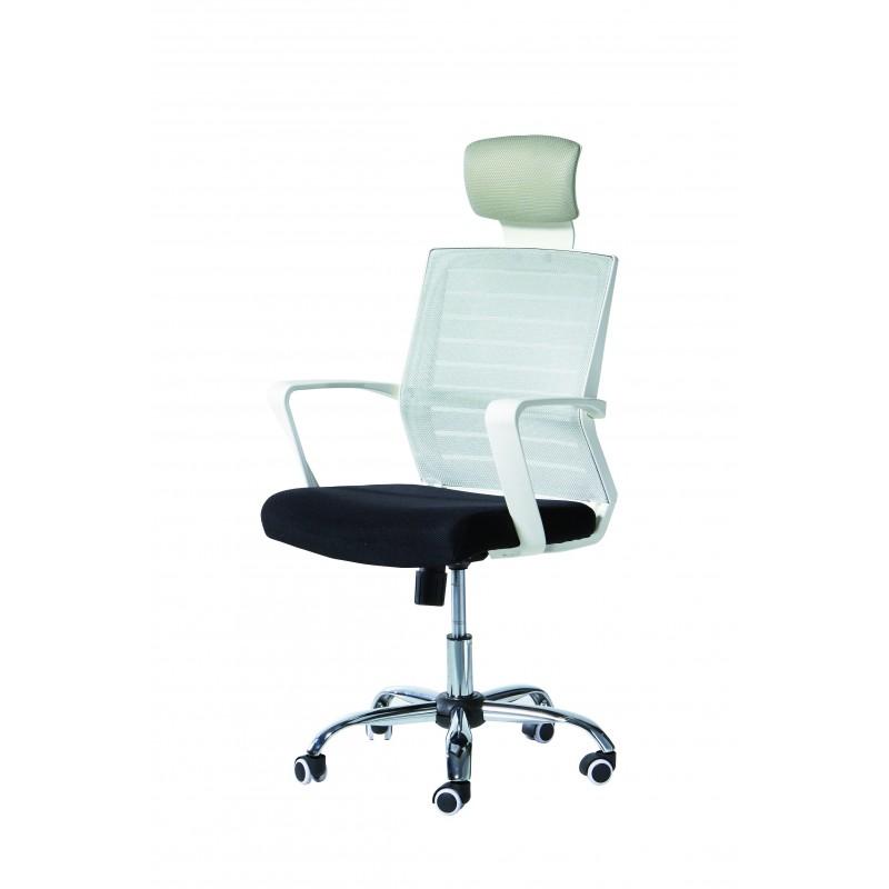 Silla de oficina giratoria a gas con brazos , acabado cromo-blanco, con asiento negro  y respaldo gris