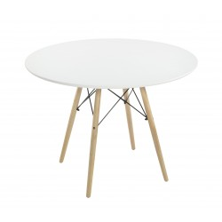 Mesa redonda de 100 cm. Tapa lacada blanco y patas haya