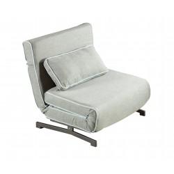 Sillón cama plegado tapizado en tela gris con borde azul