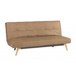 Sofá cama click clack  tapizado en microfibra color coñac