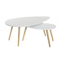 Set 2 mesas centro ovaladas en haya y blanco