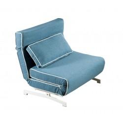Sillón cama plegado tapizado en tela azul con borde blanco