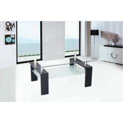 Mesa de centro de cristal con patas acabado negro de 100x60