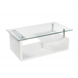 Mesa de centro rectangular en cristal y blanco de 110x65