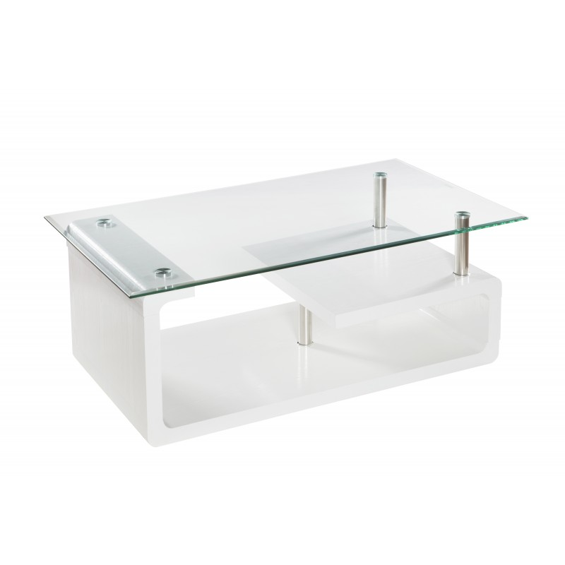 Mesa de centro rectangular en cristal y blanco de 110x65x42 cm de alto