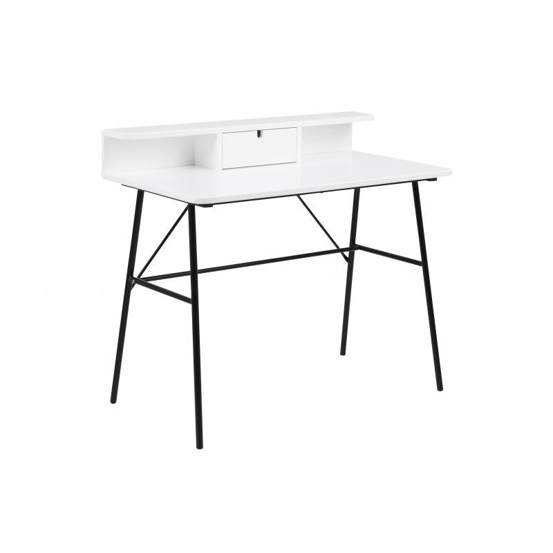 Mesa de estudio lacado blanco metal negro