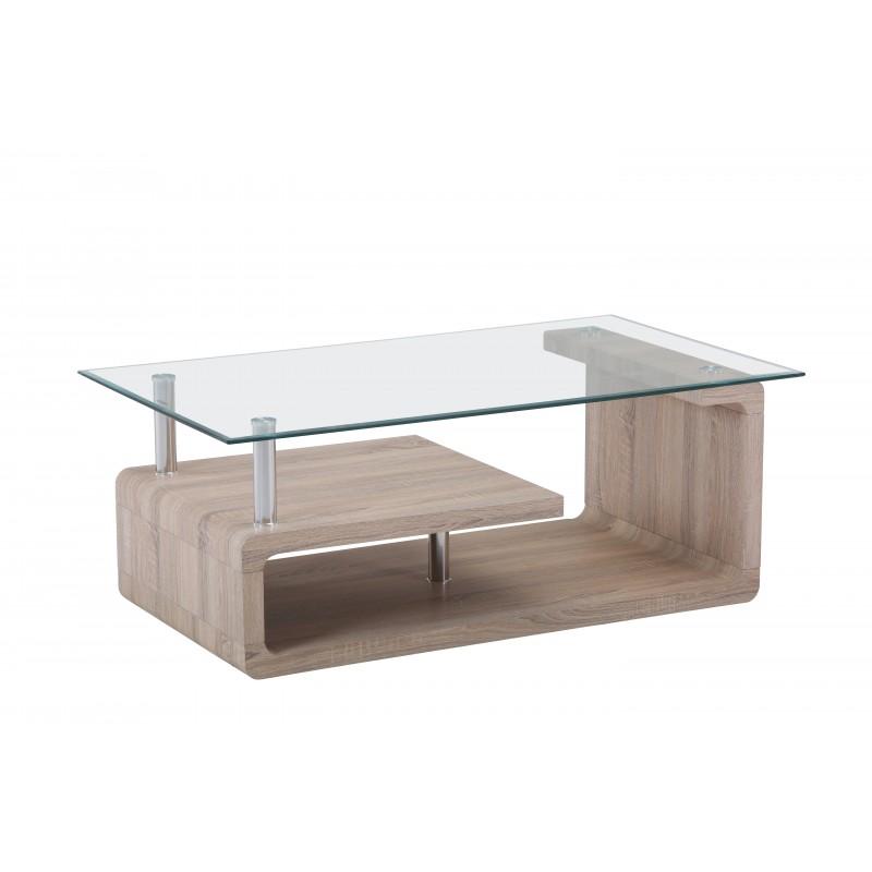 Mesa de centro rectangular en cristal y cambrai de 110x65