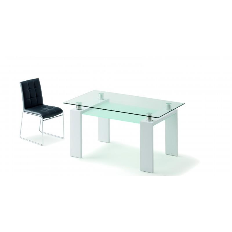 Mesa de comedor cristal y patas blanco de 150x85