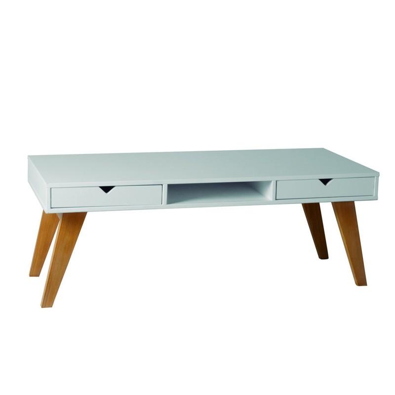 Mesa de centro lacado blanco y madera