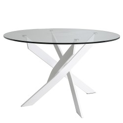 Mesa redonda Mark cristal pata cruzada blanco de 120 cm