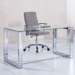 Mesa de Despacho de Cristal y Patas Cromadas de 140x70 cm.